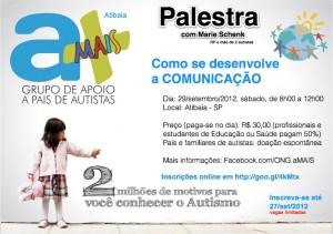 Cartaz do evento aMAIS Atibaia, palestra dia 29/09/2012