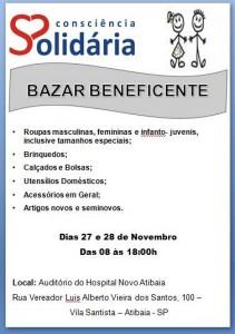 Bazar Beneficente, da Consciência Solidária