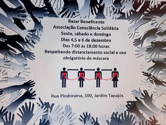 Bazar Solidário em Atibaia, dias 4, 5 e 5.dez.2020 - Consciência Solidária