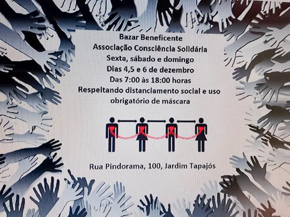 Bazar solidário acontece de 4 a 6 de dezembro